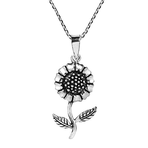 Charming Spring Sunflower .925 Sterling Silver Pendant Necklace
