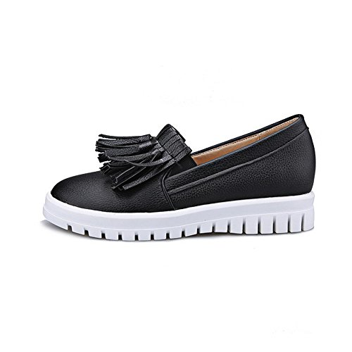 VogueZone009 Women's Round Closed Toe Pull On Pu Solid Kitten Heels Pumps-Shoes Black 3lhzUt4uw