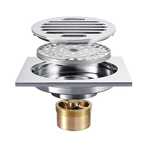 Tile Insert Square Shower Floor Drain 4-Inch Pure Cupper Grate Strainer With Removable Cover Anti-Clogging, Chrome Finish by YJZ (Image #5)