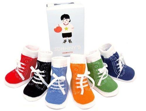 Trumpette Johnny's Sneaker 6 Pair Socks Set, Brights Assoretd, 0-12 Months (Socks Boys Trumpette)