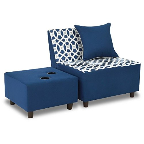 Kangaroo Trading Tween Chair Ottoman 1 Pillow-Loopy Pebbles/Navy Childrens Sofas