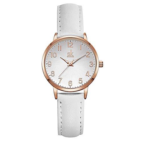 SK Woman Fashion Quartz Watch Elegant Diamond Wristwatch Girls Ultra-Thin Waterproof Wrist Watches (9005 White) (Luxury Watch Leather Women)