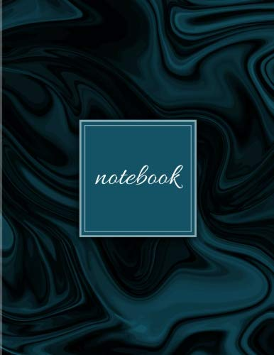 Notebook: Unlined Plain Marble Notes | Large (8.5 x 11 inches) Letter Size | 120 pages | Navy Marble Soft Cover