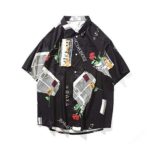 [XINXIKEJI] アロハ シャツ メンズ ビーチシャツ 夏 半袖シャツ 開襟シャツ オープンカラー 大きいサイズ 夏 総柄プリントシャツ ゆったり おしゃれ 通気性 花柄アロハシャツ レディース M-XXL