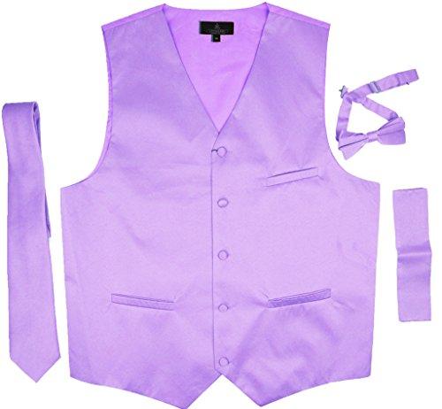 Vittorino's 4 Piece Formal Tuxedo Vest Set Combo with Tie Bow Tie (Lavender Tuxedo)