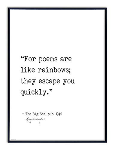 For Poems are like Rainbows - Langston Hughes. Literary Quote Print. Fine Art Paper, Laminated, Framed, or Canvas with Hanger. Multiple Sizes for Home, Office, or School - Hughes Framed
