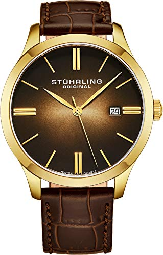 - Stuhrling Original Men's 490.3335K31 Classic Cuvette II Swiss Quartz Movement 23k Gold-Plated Case Date Brown Leather Strap Watch