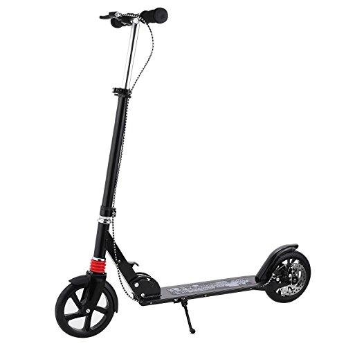 Foldable Lightweight Commute Aluminum Alloy Kick Scooter with Adjustable Height Handle Bar for Adults Youths and Teens, US Stock