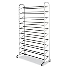 Whitmor 6060-3510 Chrome Supreme 50-Pair Shoe Rack