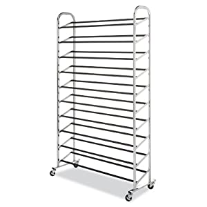 Whitmor 10 Tier Shoe Tower – 50 Pair – Rolling Shoe Rack with Locking Wheels – Chrome