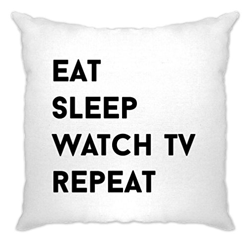 Eat Sleep Watch TV Repeat Hobby TV Chill Drama Comedy Cartoon Cushion Cover Father Ted Christmas Episode