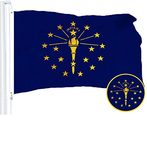 Indiana State Polyester Flag - G128 - Indiana State Flag | 3x5 feet | Embroidered 210D - Indoor/Outdoor, Vibrant Colors, Brass Grommets, Quality Polyester