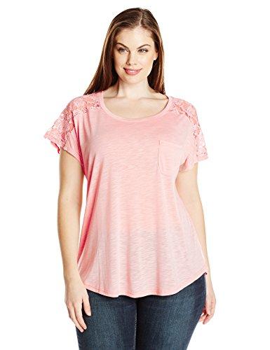 Paper Tee Women's Plus-Size Scoop Neck Short Sleeve Lace Trim Shoulder Top, Blush, (Lace Trim Scoop Neck Tee)