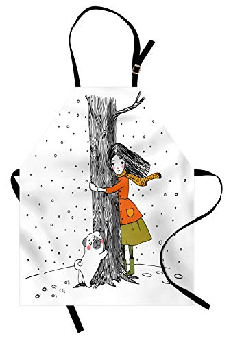 - Ambesonne Unisex Apron, Young Girl and a Pug Holding a Tree in The Snowy Weather Illustration, Adjustable Neck, White and Black
