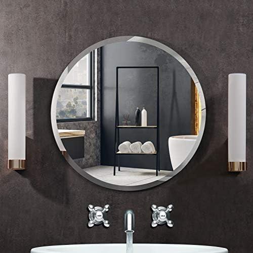 KOHROS Round Beveled Polished Frameless Wall Mirror for Bathroom, Vanity, Bedroom 31.5 Circle