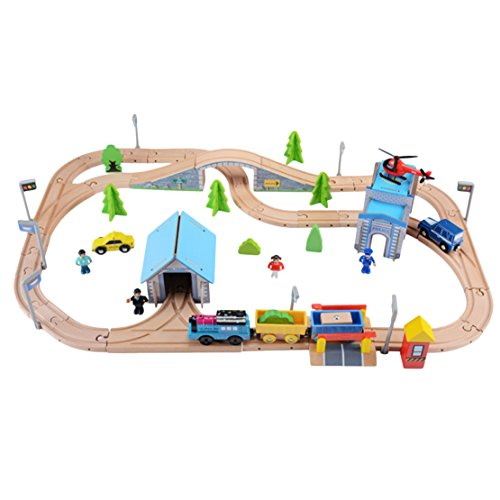 Wooden Railway Train Track Set Toy for Kids Compatible with all Brands Including Thomas the Train Wooden Toy Railway Tracks with Battery Operated Train Locomotive by Moombike (Inc.80 pieces)