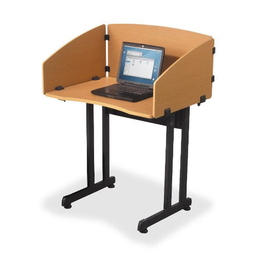 Balt Economical Study Carrel, 33-Inch by 25-Inch by 44-1/2-Inch, Teak with Black Frame