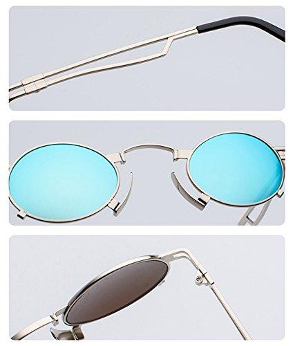 de clásica marco Steampunk UV400 sol Oro Gafas vendimia reflexivas ovaladas la Amarillo del marco de de de góticas coloridas qSZxSt71
