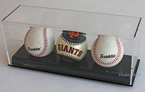 Baseball Display Case Holder Stand, Ultra Clear Pro UV (3-Ball Stand)