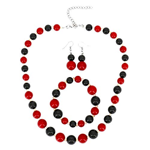 Comelyjewel Fashion Jewelry Lady Simulated Pearl Beaded Collar Women Necklace and Earrings Set (Black Red Bracelet Set)