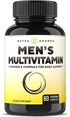 Men's Daily Multivitamin Supplement - Vegan Capsules with Biotin, Vitamins A B C D E K, Calcium, Zinc, Lutein, Magnesium, Folic Acid & More - Natural, Non-GMO, Multimineral Multivitamin for Men
