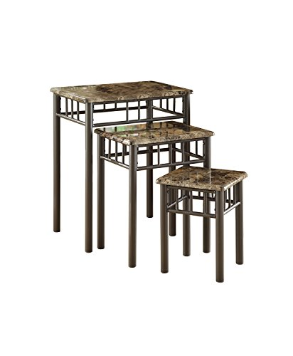 [Cappuccino Marble/Bronze Metal 3 Piece Nesting Table Set] (Collection 3 Piece Nesting Table)