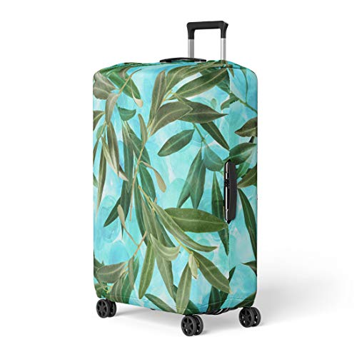 Semtomn Luggage Cover Blue Agriculture Olive Tree Branches on Vibrant Teal Green Travel Suitcase Cover Protector Baggage Case Fits 26-28 Inch