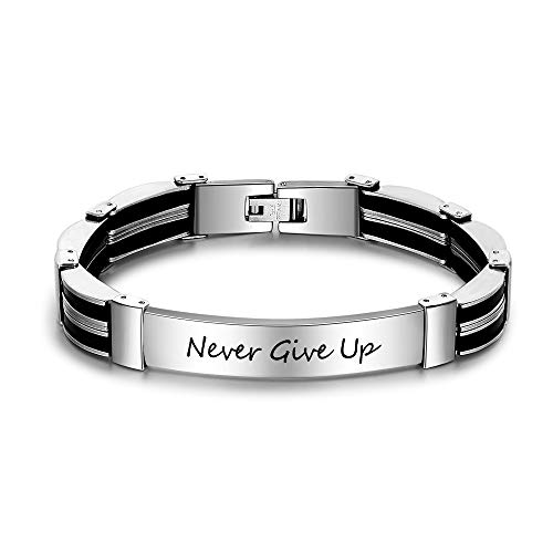 Lam Hub Fong Personalized Mens Engraved Bracelets Free Engraving Stainless Steel Name Bar Wrist ID Bracelet for Men (Stripe Design)