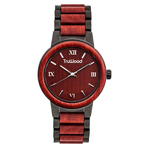 TruWood Architect Wooden Watch with Rosewood and Matte Black Stainless Steel -