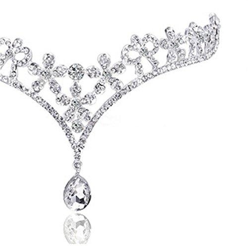 Diamondo Rhinestone Tiaras Hair Wear Wedding Bride Adjustable Headpiece with Pendant - Pieces Headpiece