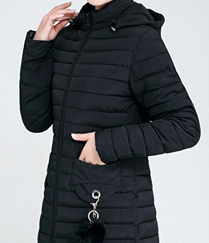 M Women Sleeve Black Coats Down Pockets Hooded amp;S Long amp;W E4X6qrwE
