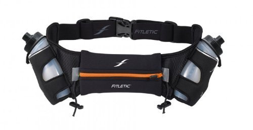 Fitletic  12 Oz Hydration Belt, Black/Orange, Large/X-Large