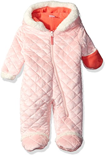 U.S. Polo Assn. Baby Girls' Quilted Faux Fur Pram, English Rose, 6-9 Months (Infant Girl Snowsuit)
