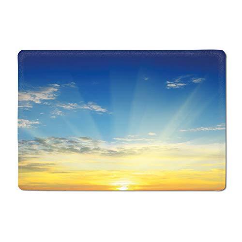 Sky Door mat Sun Rays Above The Horizon Sunset Clouds Seasonal Scenic Beauty of The World Picture Bathtub mat Blue Yellow 16