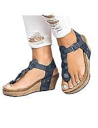 Banstore Wedge Sandals Womens Espadrille Summer Platform T-Strap Peep Toe Roman Flip Flop Bohemian Beach Open Toe Slingback Ladies Comfort Wide Fit Walking Shoes 5cm/1.96''