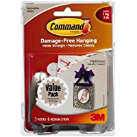 Command Traditional Plastic Hooks Value Pack, Medium, Brushed Nickel, 3-Hooks (17051BN-3ES) by Command