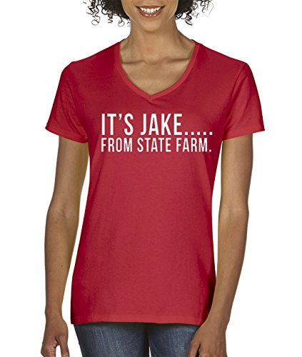 new-way-484-womens-v-neck-t-shirt-its-jake-from-state-farm-commercial-ad-large-red