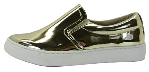 SODA Women's Preforated Slip On Sneakers (8 B(M) US, - Gold Sneakers Shoes
