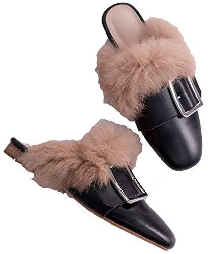 SimpleC Plat Hiver Chaussures Femmes a ConfortableAutomne Enfiler Mules Boucles Noir 1q1HvPw