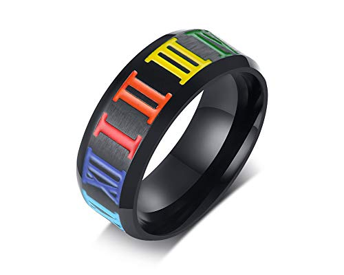 - 8mm Stainless Steel Roman Numerals Rainbow Ring LGBTQ Lesbian Gay Pride Wedding Engagement Band