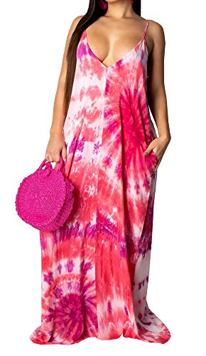 Womens Spaghetti Strap Sleeveless Dresses V Neck Floral Print Backless Sexy Loose Party Maxi Long Dress Pink S