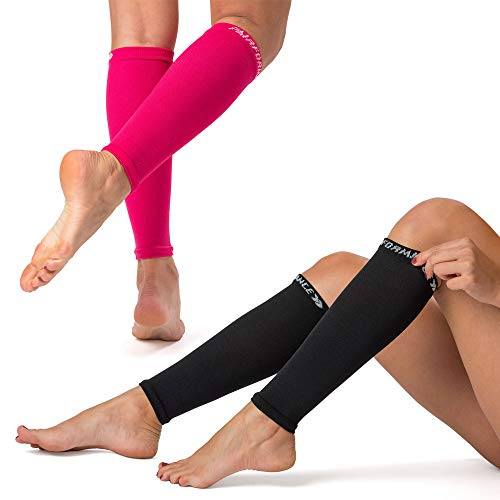 PAIRFORMANCE Premium Women Compression Sleeve Calf & Shin Support 15-20mm Hg. Pain Relieve Restless Legs. Sports and Work (L-XL, Pink-Black L/XL)