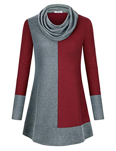 (Youtalia Tunic Tops Leggings, Womens Color Block Hoodie Long Sleeve Cowl Neck Shirt Fall Sweaters Curved Hem A Line Lightweight Ladies Tunics Wine X-Large)