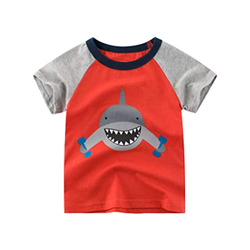 WOCACHI Toddler Kids Children Boys Girls Cartoon Shark T Shirt Tops Tee T-Shirt Clothes Infant Bodysuits Rompers Clothing Sets Christening Short Sleeve Organic Cotton Sunsuits ()