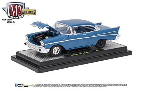M2 Machines New 1:24 Detroit Muscle Release 54A - Blue 1957 Chevrolet 210 Hardtop Diecast Model Car ()