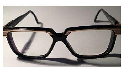 Cazal 650 001 Shiny Black Gold Eyeglasses 58 - Vintage Frames Cazal