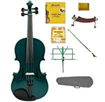 Merano 4/4 (Full) Size GREEN Acoustic Violin with Case+GREEN Stick Bow+Rosin+2 Sets Strings+Tuner+Shoulder Rest+GREEN Music Stand
