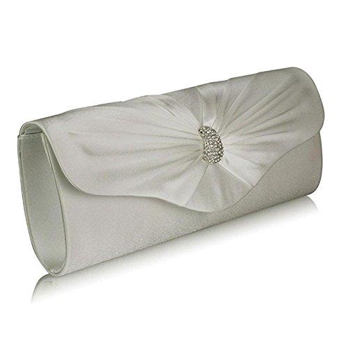 Xardi London-Frizione a punta in Diamante, motivo: borsetta da donna, per abiti da sera Ivory