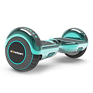 "Hoverboard Two-Wheel Self Balancing Electric Scooter 6.5"" UL 2272 Certified, Print Coating with Bluetooth Speaker and LED Light (Turquoise)"