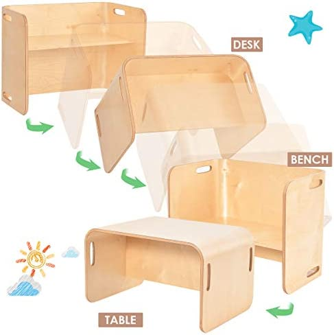 Costzon Kids Table And 2 Chair Set, Multipurpose Toddler Furniture 3-Piece Set W/Wood & Thicker Planks, No Assembly Required, Children Learning Desk For Home School Kindergarten (Natural)